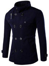 Double Breasted Funnel Collar Pea Coat -