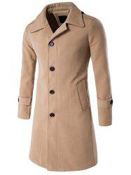 Epaulet Single Breasted Long Wool Blend Coat -