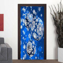 Christmas Snowflake Printed Ornament Ball Pattern Door Stickers -