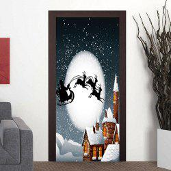 Moon Night Santa Sleigh Pattern Christmas Door Stickers -