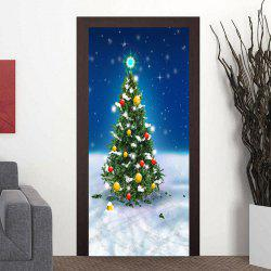 Snowfield Christmas Tree Pattern Door Art Stickers -
