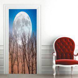 Round Moon and Tree Pattern Door Art Stickers -