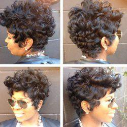 Short Inclined Bang Shaggy Curly Heat Resistant Synthetic Wig -