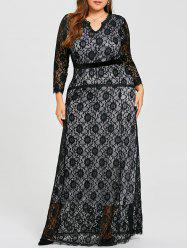 Plus Size Lace Maxi Evening Formal Dress -