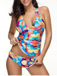 Backless Printed Halter Tankini Set -