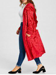 Plus Size Velvet Hooded Pom Ball Maxi Coat -