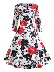 Floral Plus Size Midi Vintage Swing Dress -