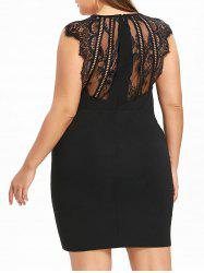 Plus Size Lace Panel Surplice Bodycon Dress -