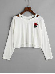 Rose Embroidered Patches Cold Shoulder Sweatshirt -