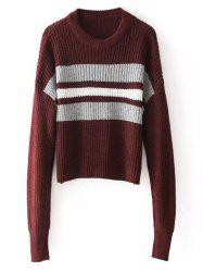 Stripes Panel Crew Neck Pullover Sweater -
