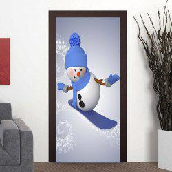 Christmas Snowman Skiing Pattern Door Stickers -