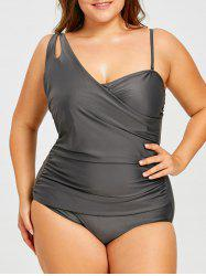 Asymmetric Straps Plus Size Ruched Slimming Swimsuit -