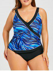 Plus Size Print V Neck Tank One Piece Swimwear -
