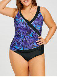 Surplice Plus Size Printed Slimming One Piece Swimsuit -