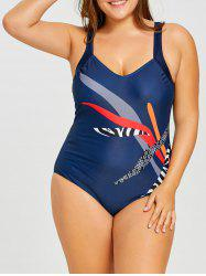 Plus Size Graphic Slimming V Neck One Piece -