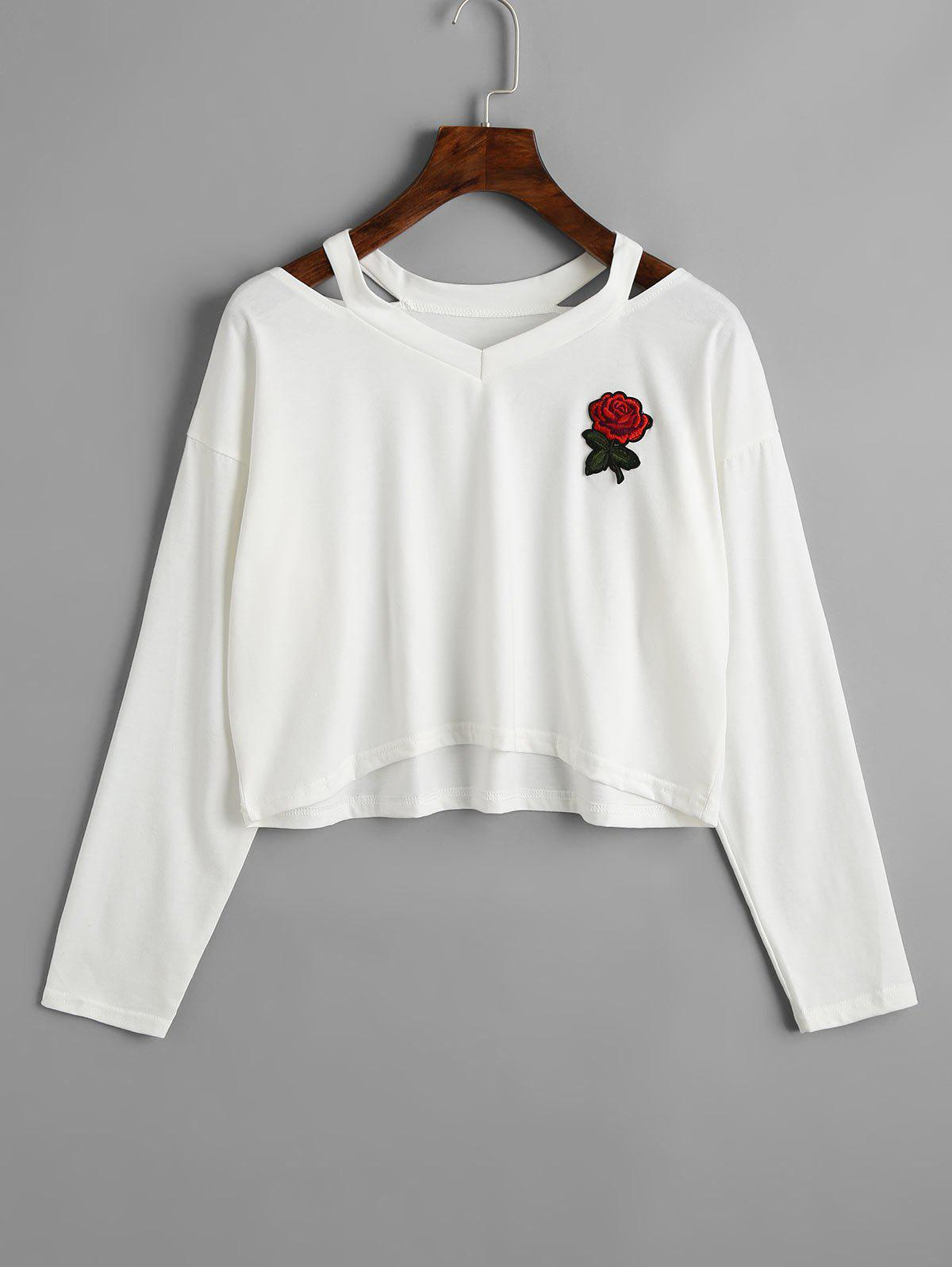 Latest Rose Embroidered Patches Cold Shoulder Sweatshirt