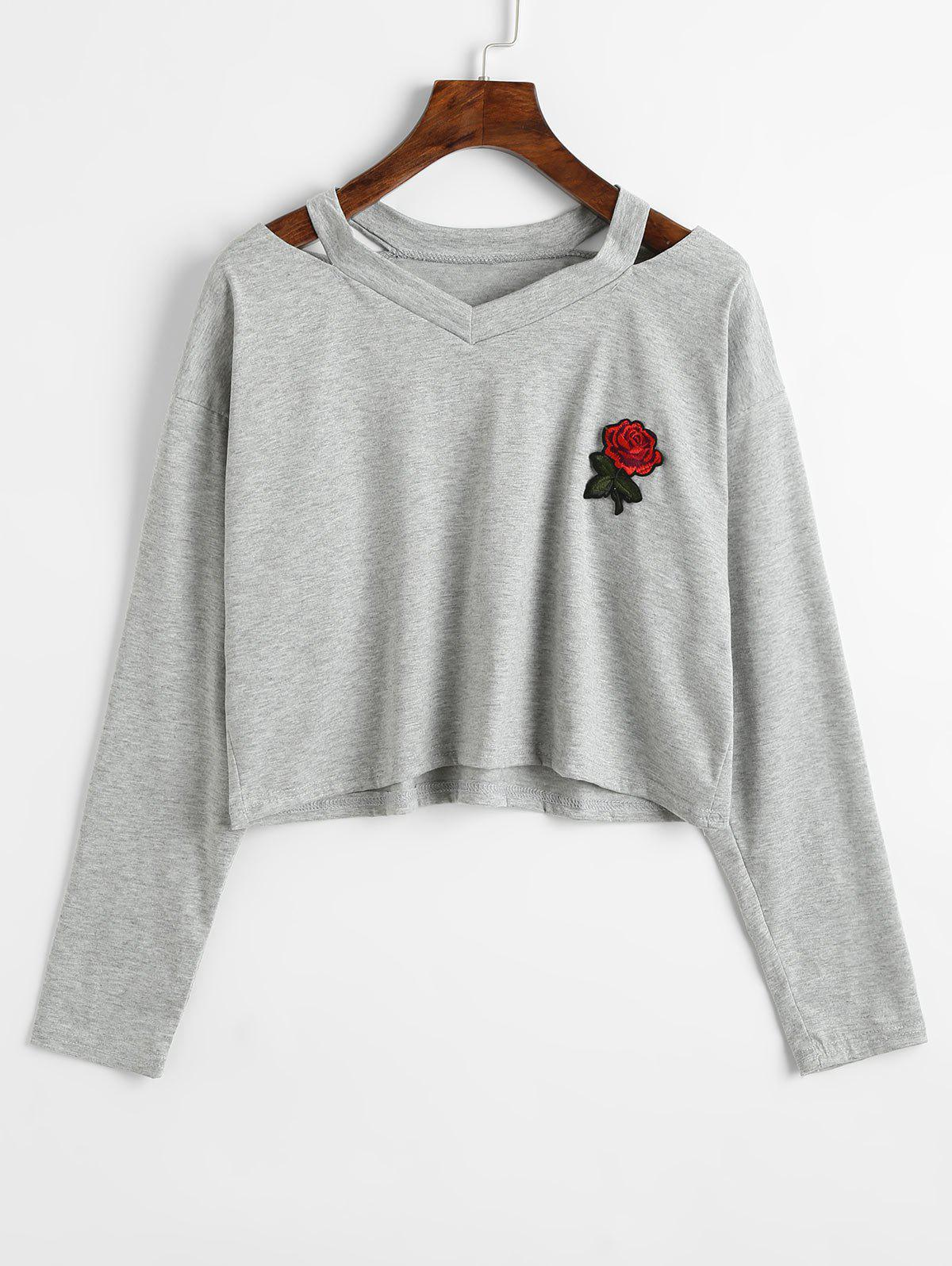 Sale Rose Embroidered Patches Cold Shoulder Sweatshirt