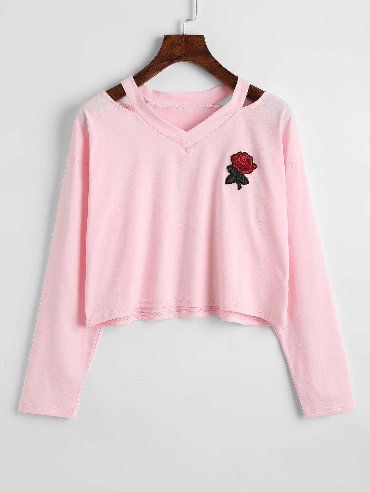 Outfits Rose Embroidered Patches Cold Shoulder Sweatshirt