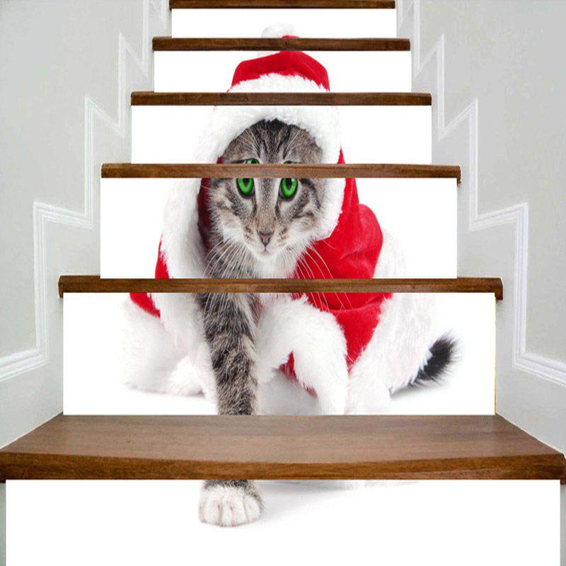 Sale Cat Wearing Christmas Clothes Print Stair Stickers