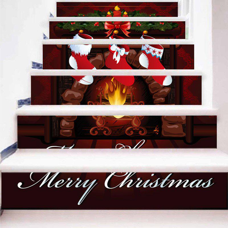 New Christmas Stocking Fireplace Printed Decorative Stair Stickers