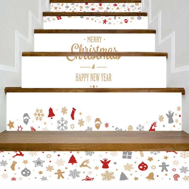 Unique Christmas Elements Letter Print Decorative Stair Stickers