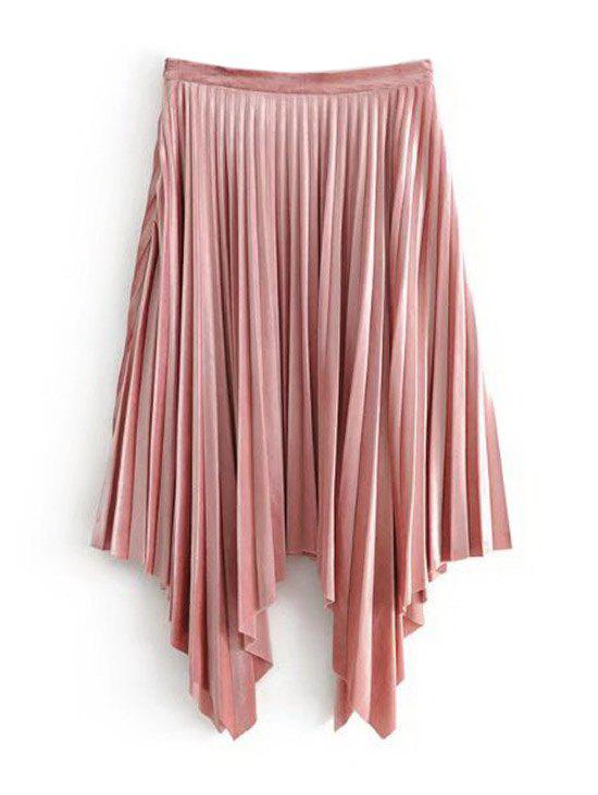 Hot Velvet Pleated Asymmetrical Skirt