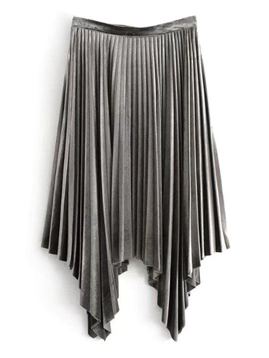 Outfits Velvet Pleated Asymmetrical Skirt