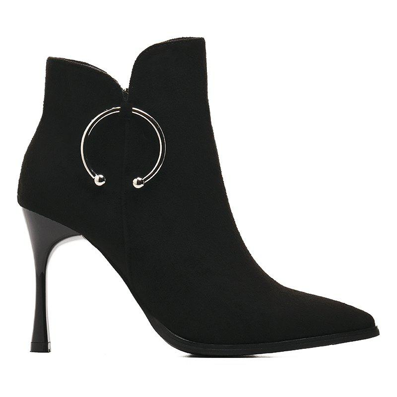 New Metal Ring High Heel Ankle Boots