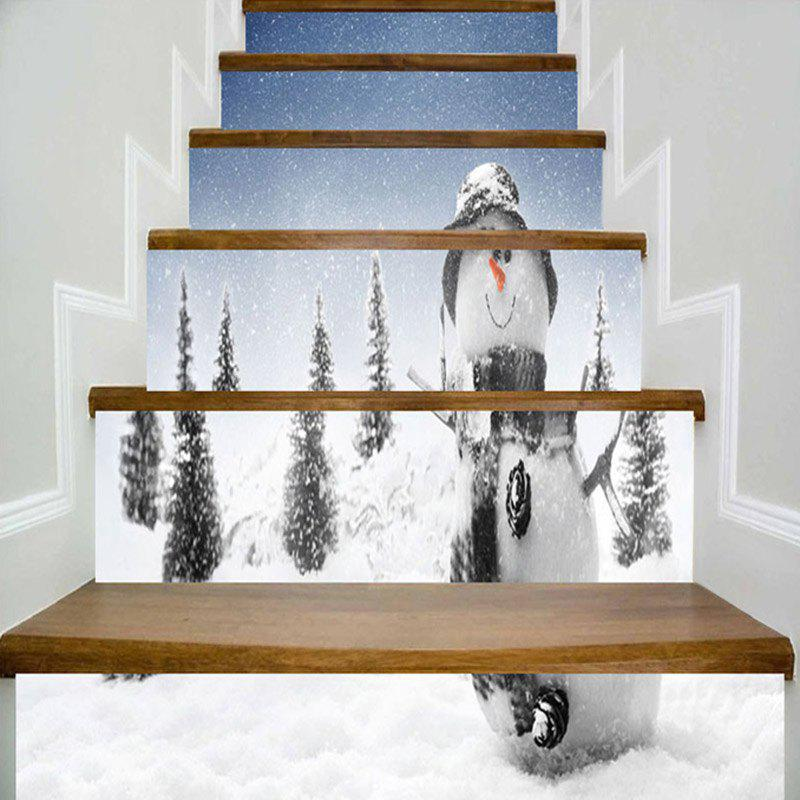 Unique Christmas Snowman Snowscape Printed Stair Stickers