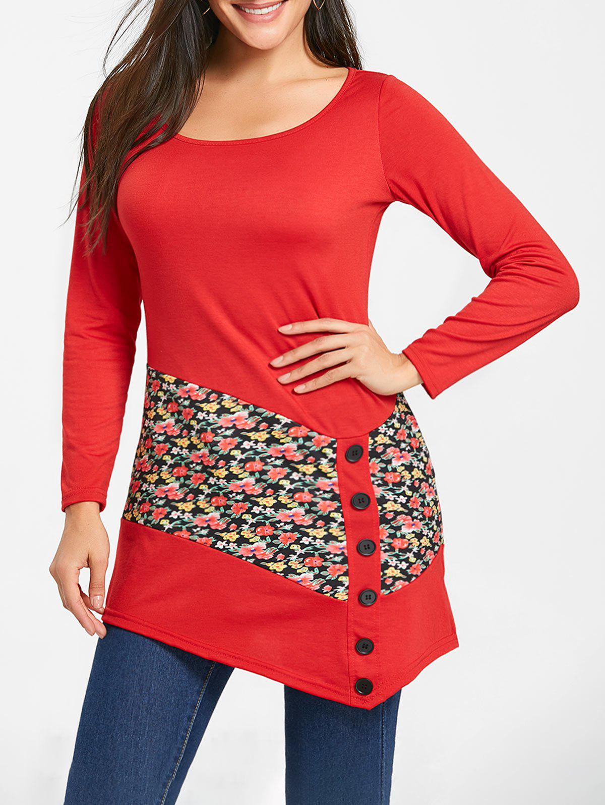Sale Floral Panel Buttons Long Sleeve Tunic Top