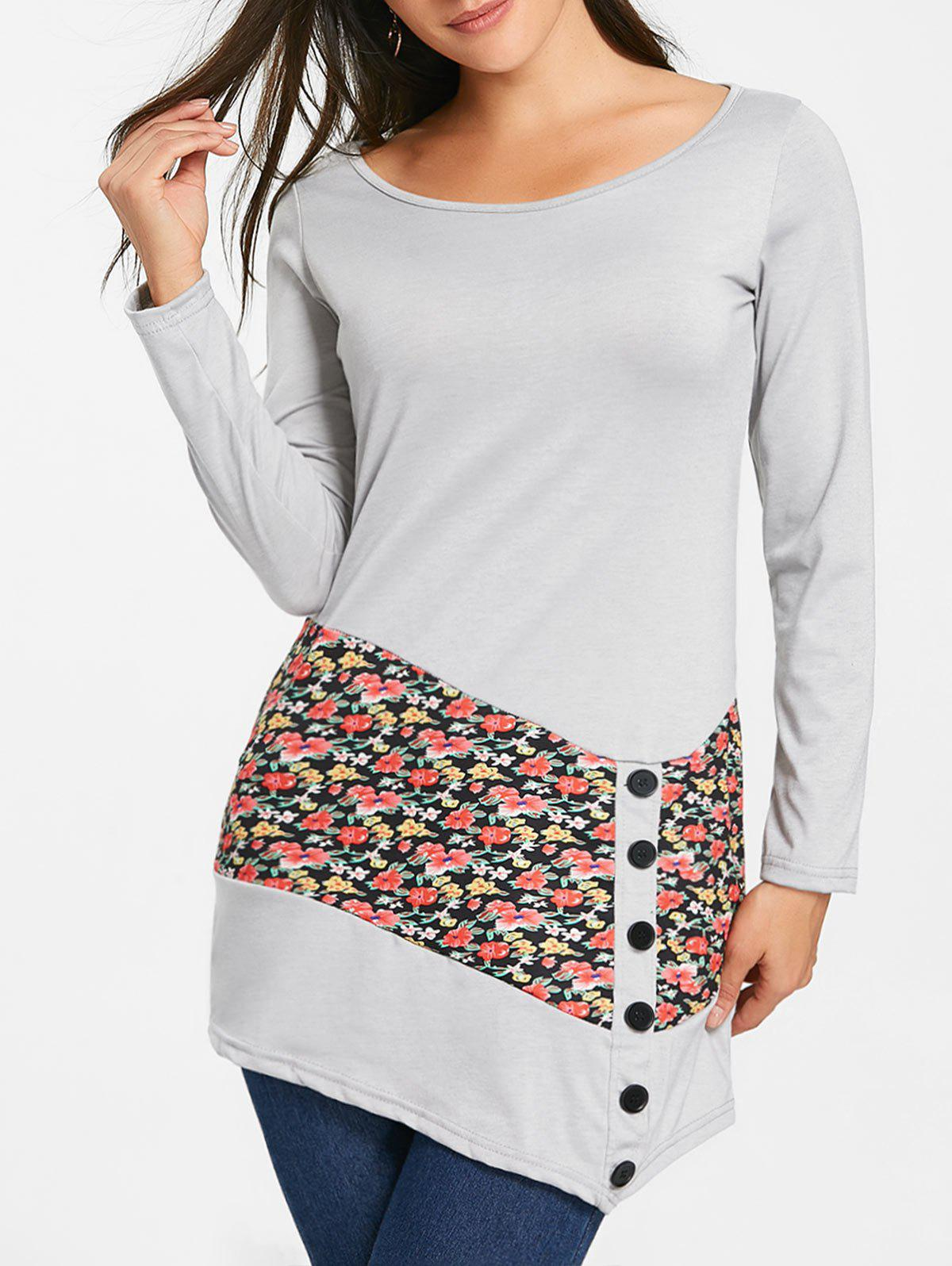 Unique Floral Panel Buttons Long Sleeve Tunic Top