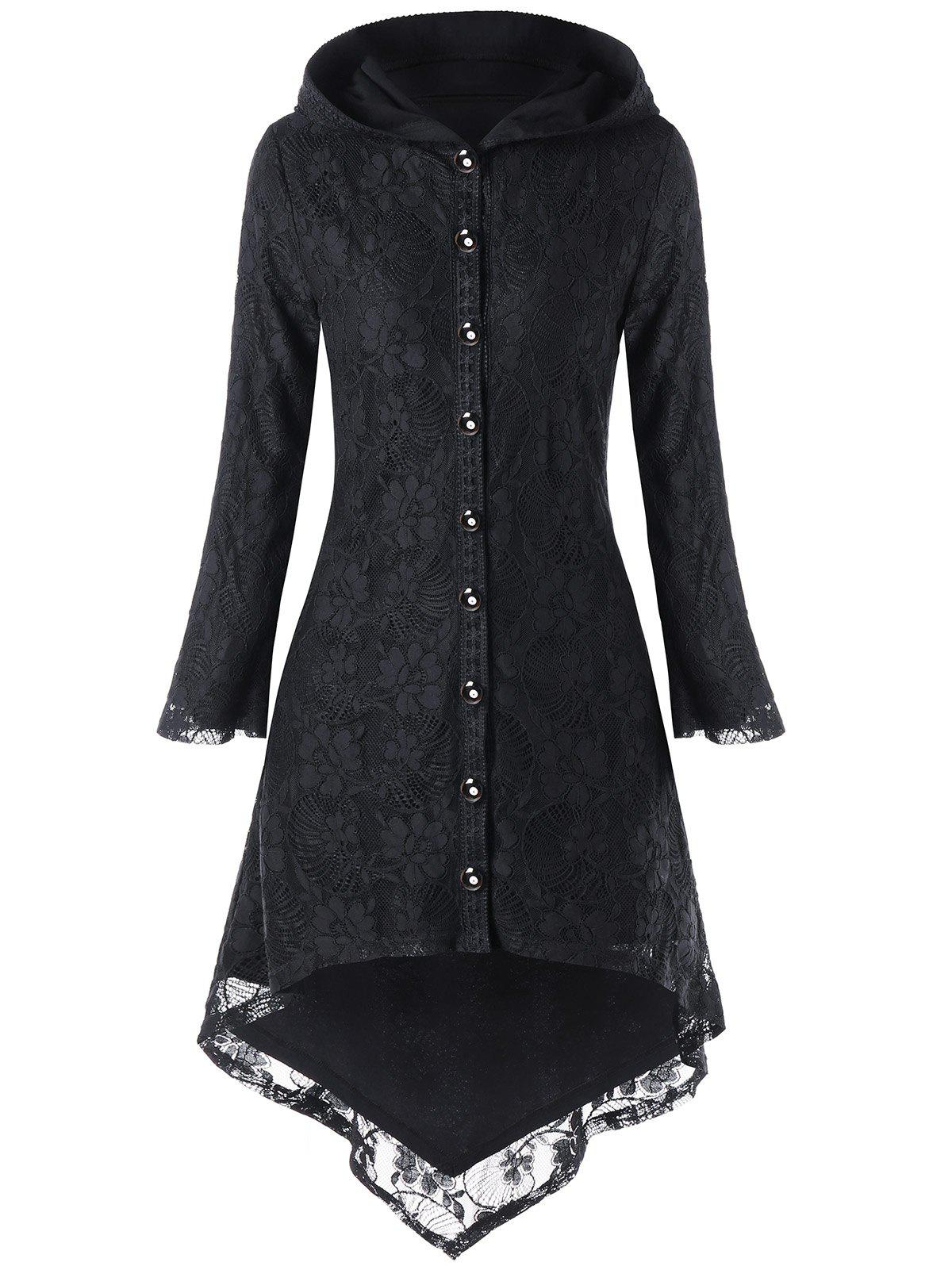 Sale Hooded Lace Up High Low Coat
