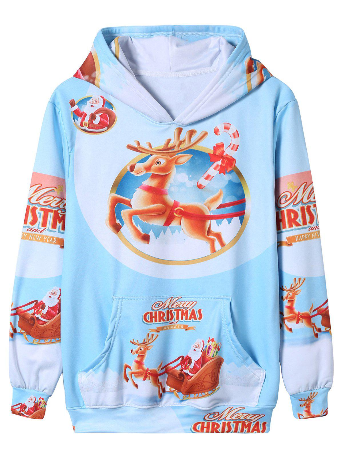 Sweat-shirt à capuche avec impression 3D de Santa Christmas Cartoon Multicolore XL