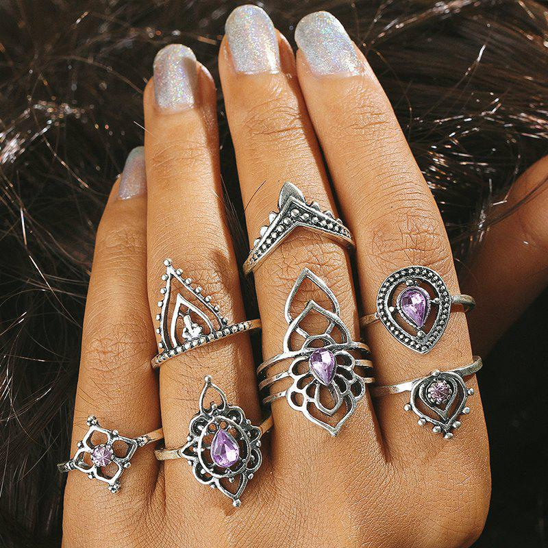 Latest Artificial Amethyst Teardrop Flower Finger Ring Set