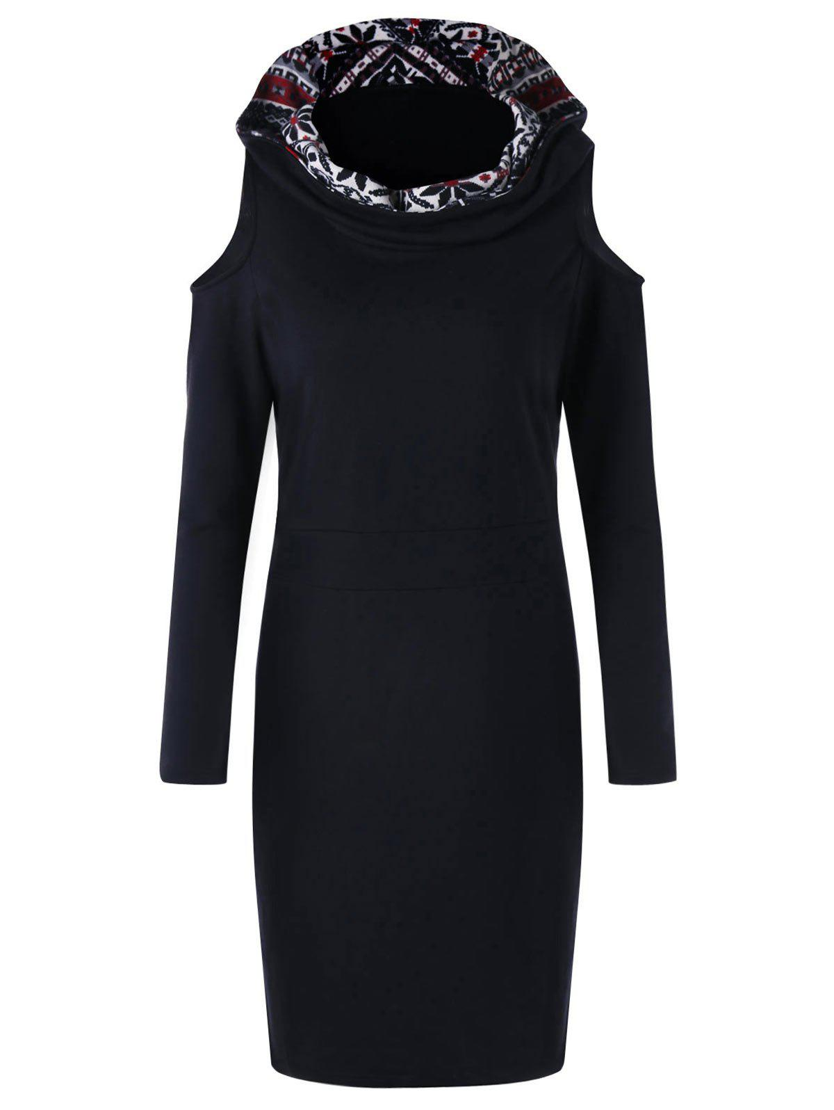 Chic Cold Shoulder Long Sleeve Snowflake Hooded Dress