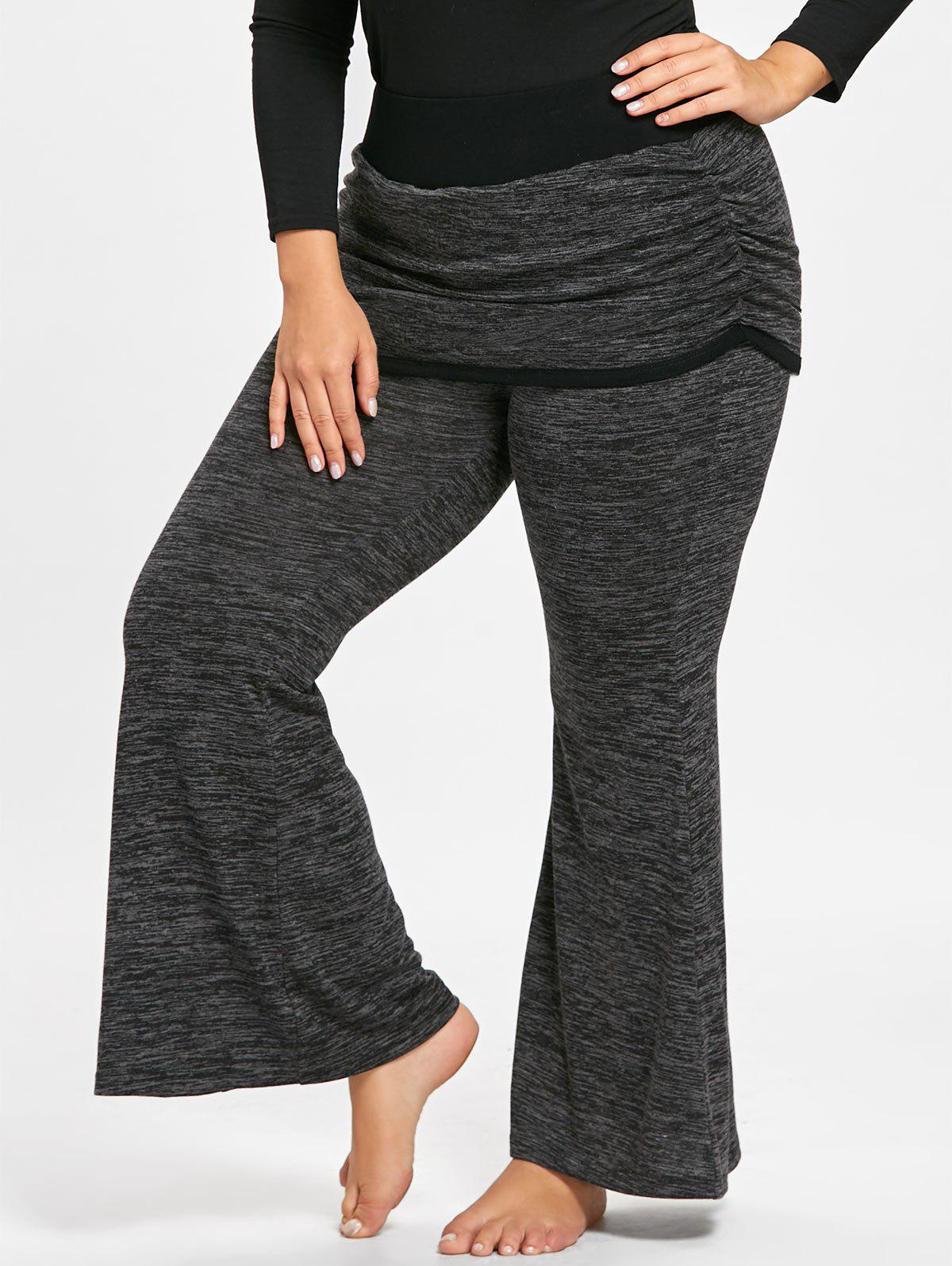New Plus Size Marled Foldover Flare Pants
