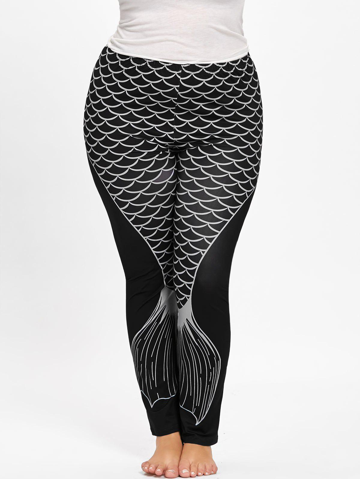 Cheap Plus Size Fishtail Print Leggings