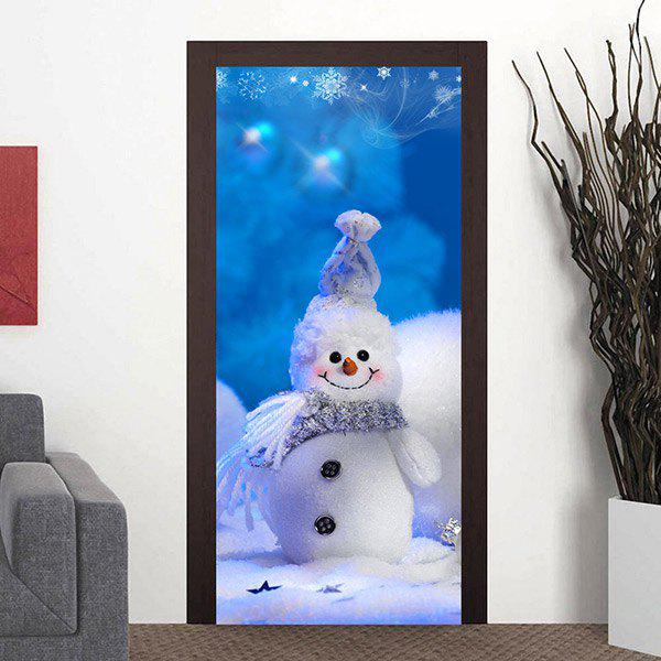 Buy Cute Christmas Snowman Pattern Door Cover Stickers