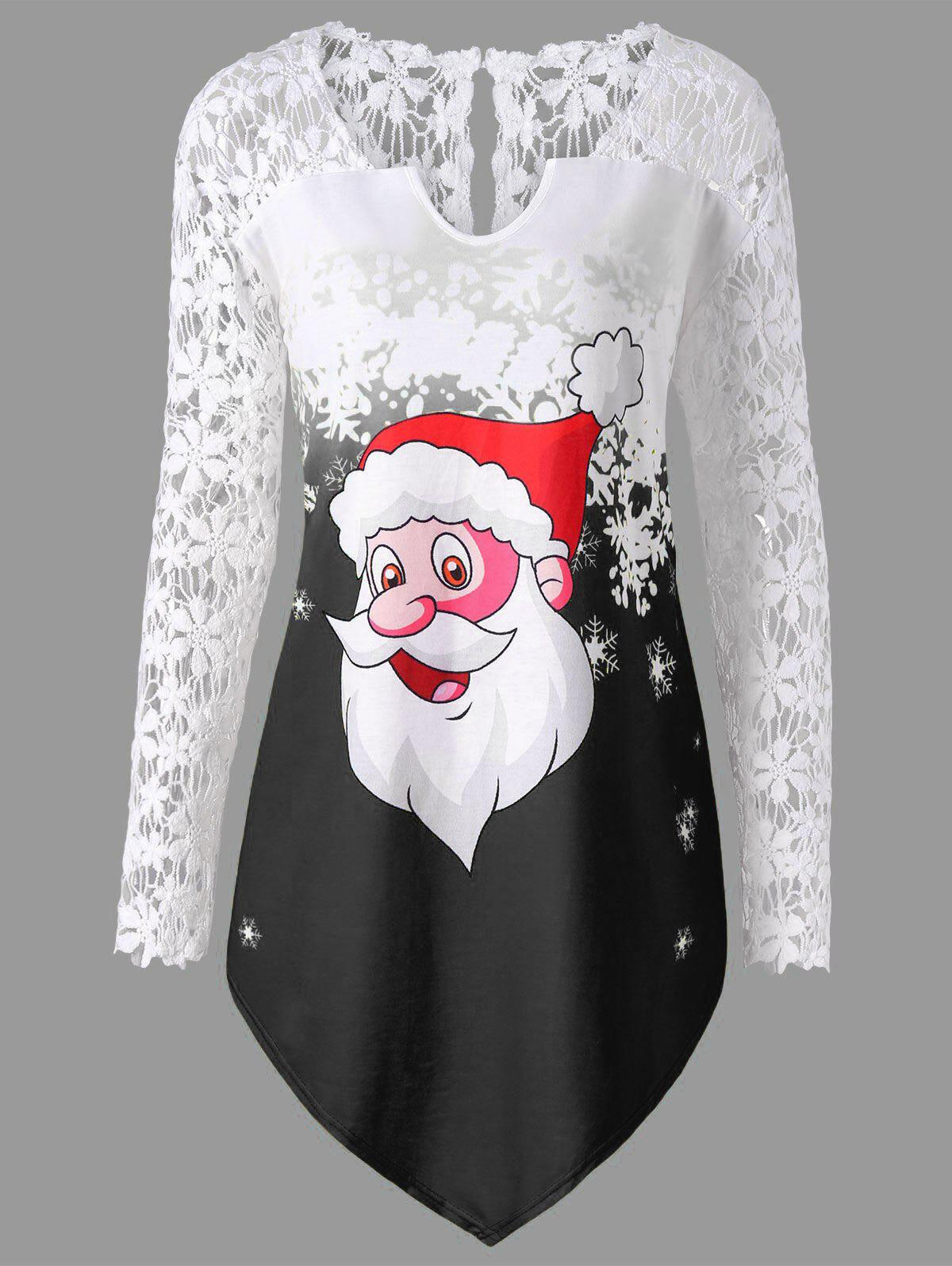 Cheap Christmas Plus Size Santa Claus Lace Trim T-shirt