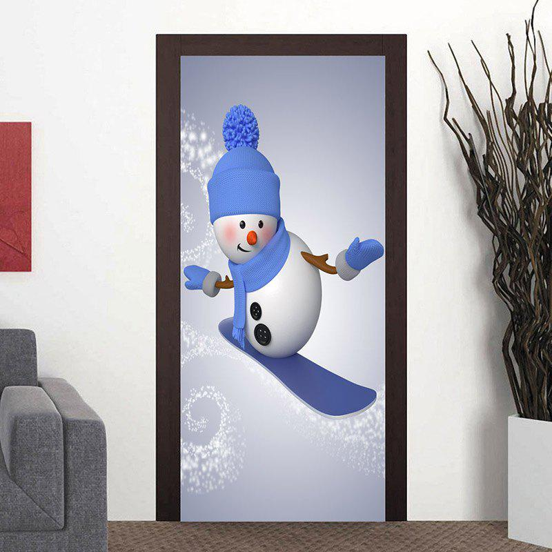 Cheap Christmas Snowman Skiing Pattern Door Stickers