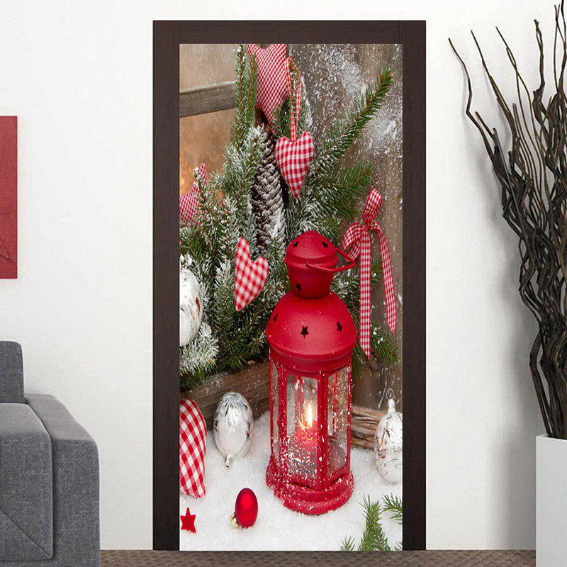 Chic Christmas Candle Lantern Pattern Door Decor Stickers