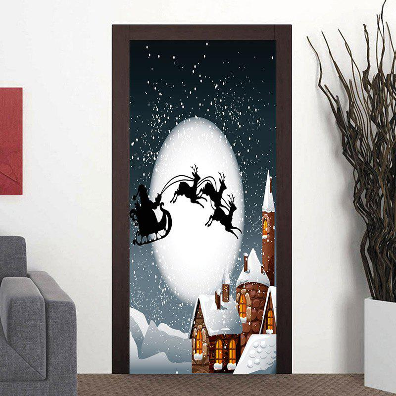 Latest Moon Night Santa Sleigh Pattern Christmas Door Stickers