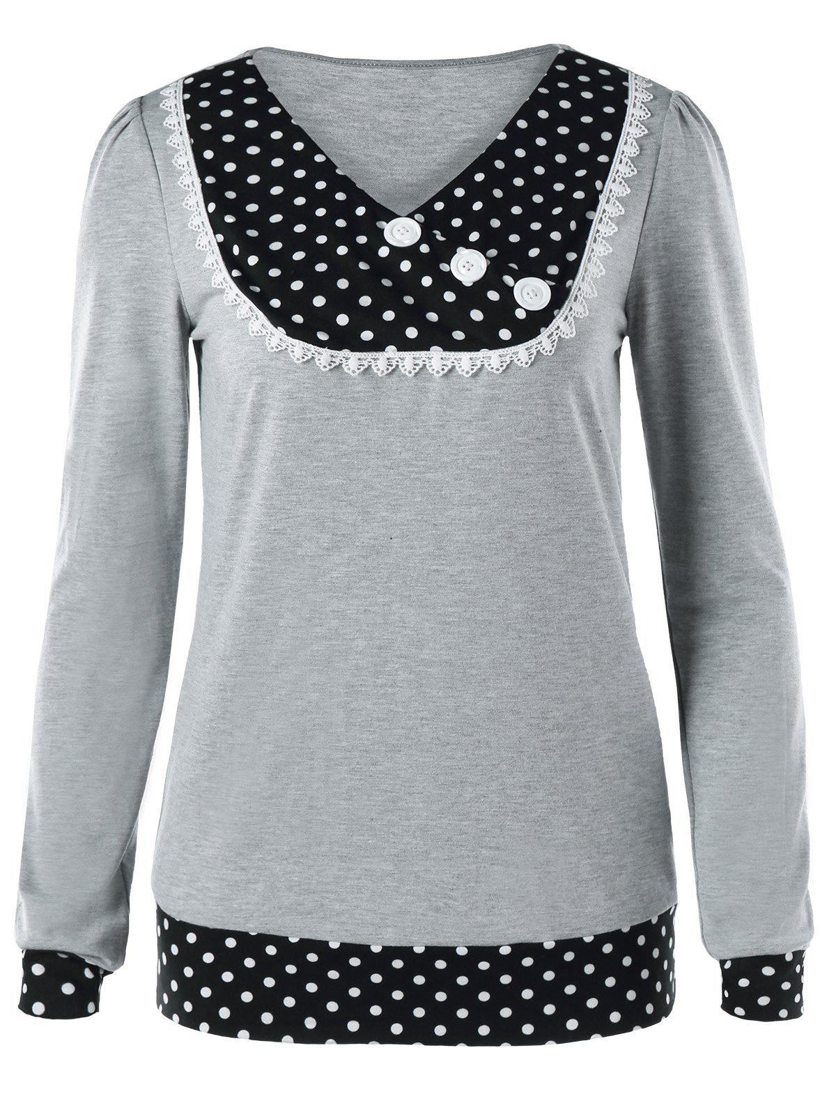 Chic V Neck Buttoned Polka Dot Tee