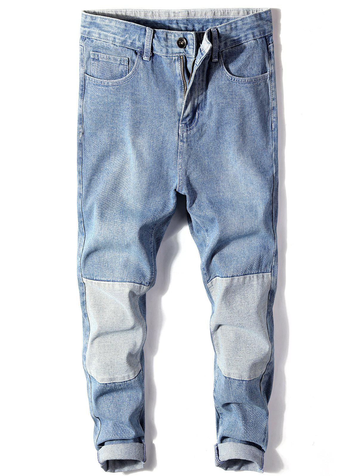 Online Bleached Color Block Harem Ripped Jeans