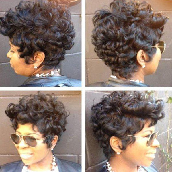 Fancy Short Inclined Bang Shaggy Curly Heat Resistant Synthetic Wig