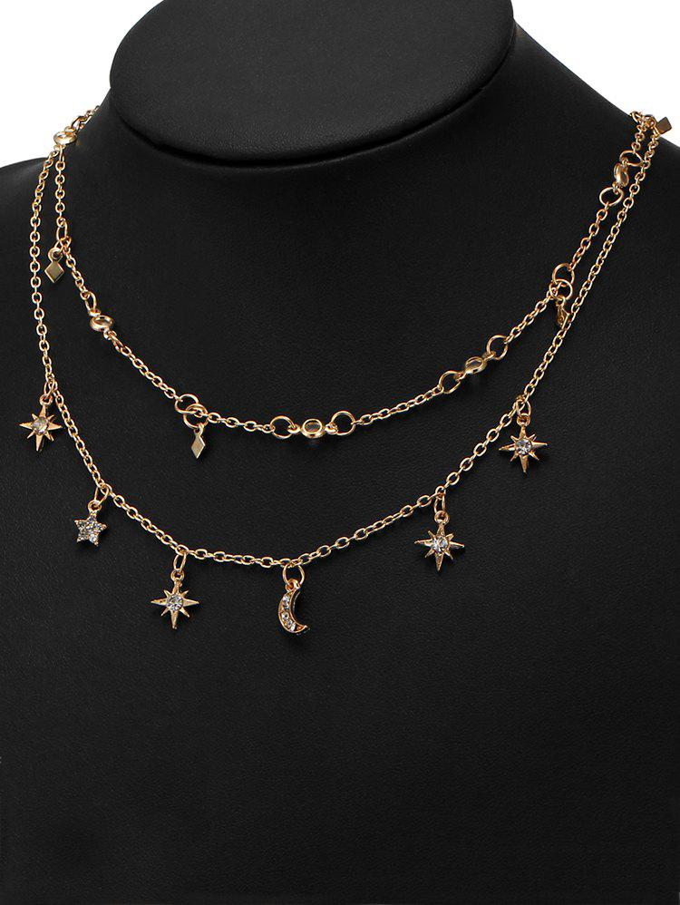 Outfit Charm Moon Star Chain Necklace Set