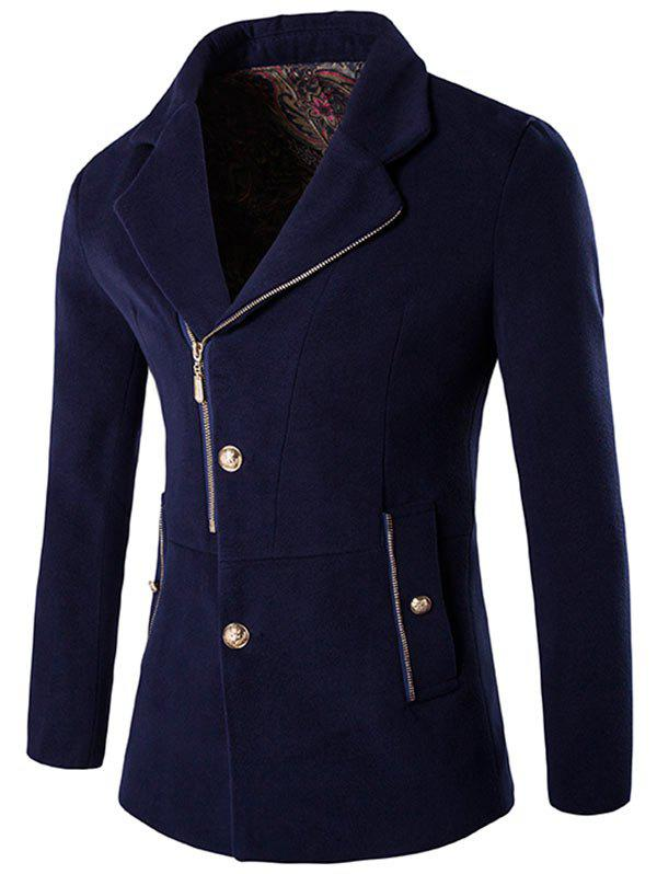 Affordable Side Button and Zip Up Wool Blend Coat