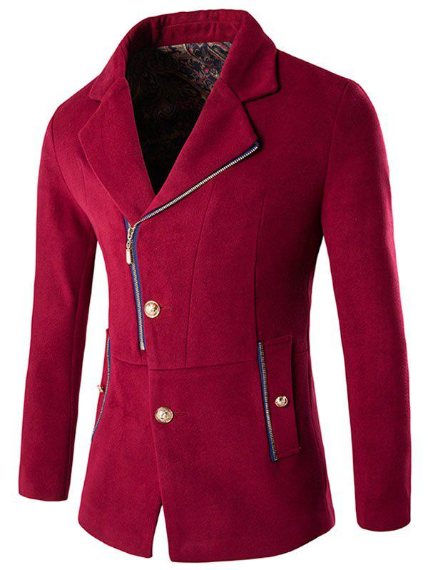Discount Side Button and Zip Up Wool Blend Coat