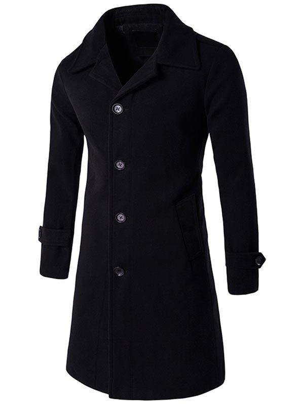 Store Epaulet Single Breasted Long Wool Blend Coat