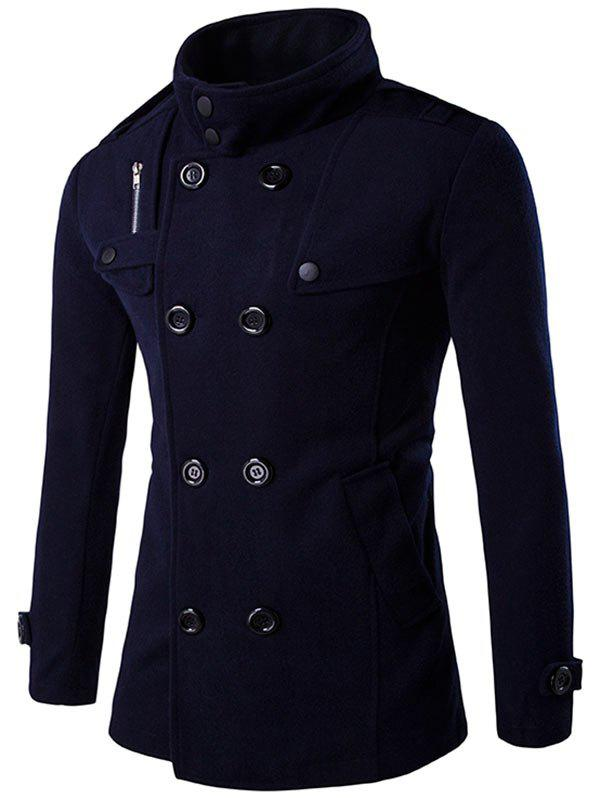 Outfits Double Breasted Funnel Collar Pea Coat